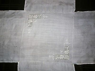 Unusual Hand Embroidered Linen Tablecloth ~ Antique ~ Cross-Shaped ~ From China