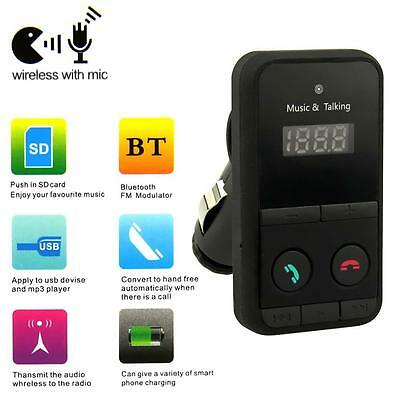 Sans fil Bluetooth Transmetteur FM Kit Mains Libres Lecteur MP3 à distance #A CC