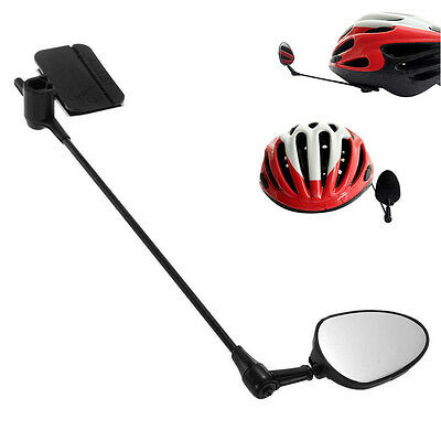 Portable Bike Bicycle Cycling Mirror Rear View Rearview Helmet Safety Black