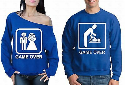 Couple Sweater Game Over Off Shoulder Crewneck Funny Wedding Gift Sweatshirt Bl