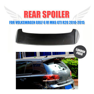Carbon Fiber Rear Roof Spoiler Wing Lip Fit for VW Golf 6 VI MK6 GTI R20 Black