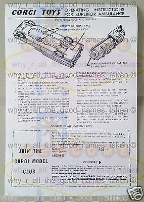 CORGI Toys Reproduction OPERATION INSTRUCTIONS for 437 SUPERIOR AMBULANCE