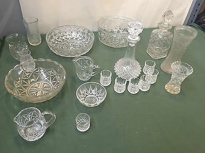 Bargain Lot ! 20 Pieces Of Various Clear Glassware - Vr