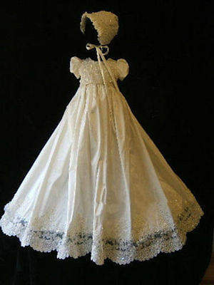 Heirloom Baptism Gown With Bonnet Baby Girl Boy Christening Dress 0-24month Size