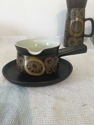DENBY Arabesque Gravy Sauce Boat and Stand (under plate) - Lovely Condition