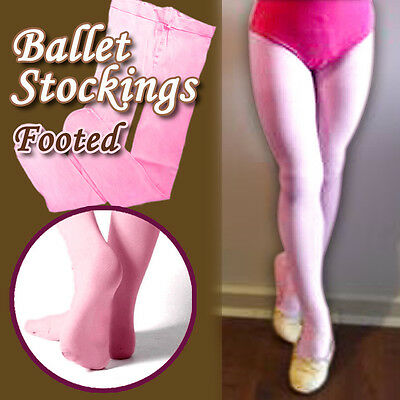 Children girls ballet stockings dance footed tights pantyhose pink size 2-12yrs