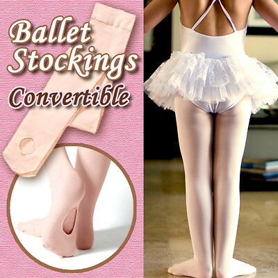 Convertible Girls/women ballet stockings/dance tights/pantyhose tan 4 sizes new