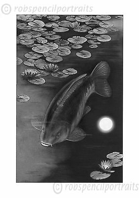 MOONLIGHT MIRROR Limited Edition Carp Fishing Art Print By Robin Woolnough