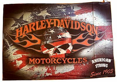 FLAMING SKULL AMERICANA Harley Davidson Motorcycles® Decorative Flag 2 Sided