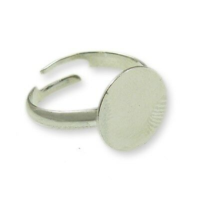 Silver Tone Adjustable Ring 12mm Flat Pad Bases Ring Finding Blank