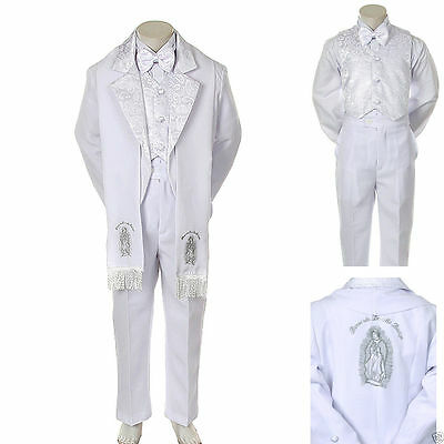 Baby Boy Christening Baptism/scarf Suit/6 pcs/ Size: S to 7 Silver Virgin Marry