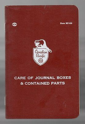 CANADIAN PACIFIC CARE OF JOURNAL BOXES AND CONTAINED PARTS 1964 Manual C.P. CPR