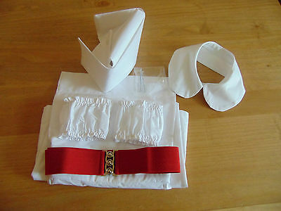 1960s  NURSES  APRON  HAT cap   COLLAR CUFFS AND RED BELT  cotton fabric