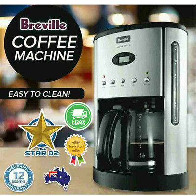Filter Coffee Maker Machine Electronic Programmable Breville Stainless Steel New