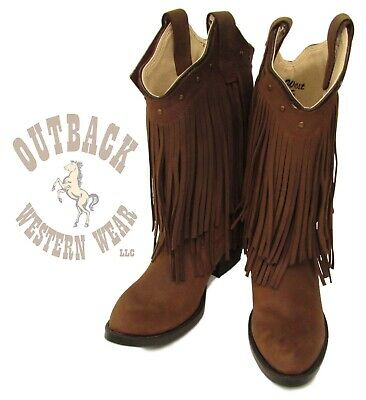 Old West Kid's Brown Fringe Round Toe Western Boots 8125