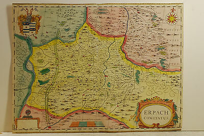 """Erpach Comitatus"" German map,mid 17th century, probably by W Blaeu, excellant"