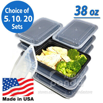 38oz Meal Prep Food Containers With Lids Reusable Microwavable Plastic Bpa Free