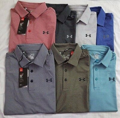 Nwt Under Armour Heat Gear Men's Stripe Golf Loose Fit Polo Shirts (S-3Xl)