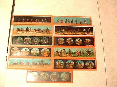 11 Antique Ernst Plank & MD Magic Lantern Slides