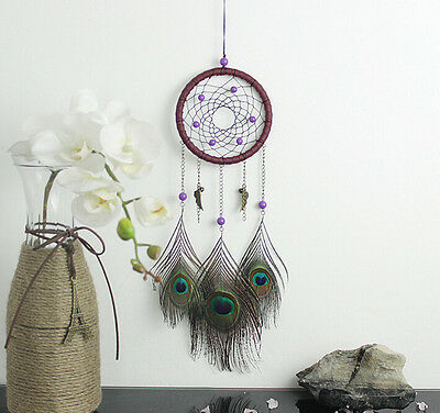 Ornament Wall Car Hanging Room Decor Dream Catcher Peacock 18 inch Room Feather