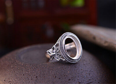 Thai Sterling Silver Ring Base Filigree Butterfly Oval Cabochon Ring Blank R335B