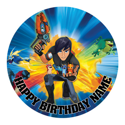 Slugterra Personalised Edible Birthday Party Cake Decoration Topper Round Image