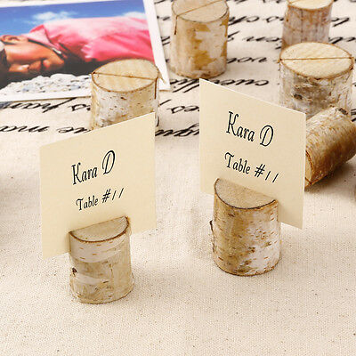 10 Rustic Natural Birch Wood Wedding Name Place Card Table Number Holder