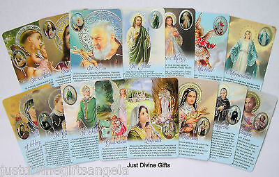 Prayer Verse Card VARIOUS SAINTS Icons With Resin Drop Picture Religious