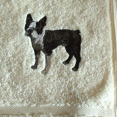 Boston Terrier Dog Embroidered Towels, Dog Gift, Personalise, Embroidery