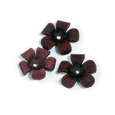 Hobby & Crafting Fun Real Leather Flowers - 20mm 3pcs