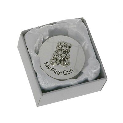 Teddy Silver Plated First Curl Box Trinket Boy Girl First Born Christening Gift