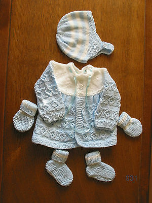Blue & White matinee set new 0-3 months coat bonnet booties mitts hand knitted.