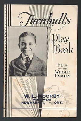 TURNBULL'S PLAY BOOK FUN FOR WHOLE FAMILY C. Turnbull Company GALT ONTARIO 1920s