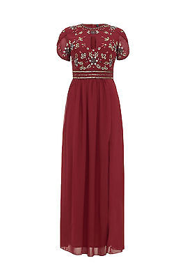 NEW Red Maxi Dress Gem Sequin Embellished Bridesmaid Party Prom Gown Size 8-24