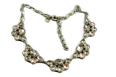 J Crew Bib Necklace Faceted Champagne Pink Crystal Antique Gold Tone Finish