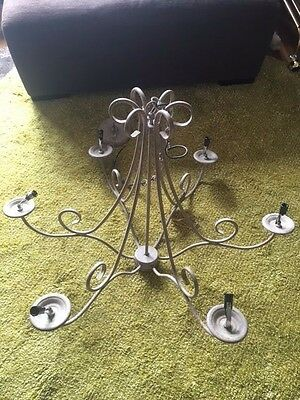 Nwt Antique 5 Arm Iron Oyster Candelabra Chandelier Large 30""