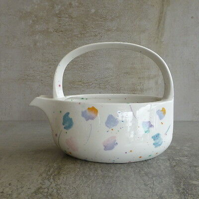 Retro Midwinter Style Pottery Jug  400mls Made in England Pastel Flowers White