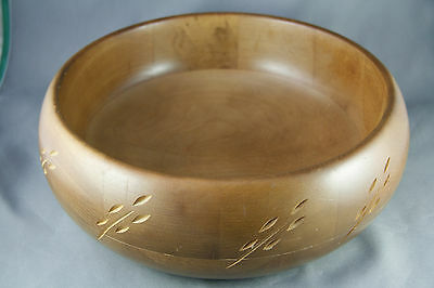 Vintage Baribocraft Turned Wood Salad Bowl Carved Wheat Design Maple Mid Century