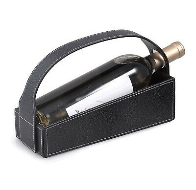 Wine Carriers - Black Leather Wine Caddy - Wine Bottle Holder - Wine Server