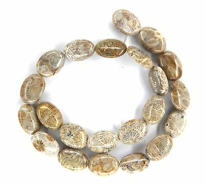 "15.5"" NATURAL Fossil Coral Flat Oval ~22 Beads 13x18mm K2110"