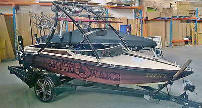 """Wakeboard boat  tower """"the Jaws in Black"""" By Wanted Wake,"""
