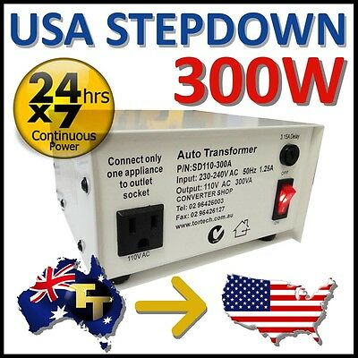 300 WATT ECONOMY STEP DOWN TRANSFORMER 240V to 110-120V SD110-300A