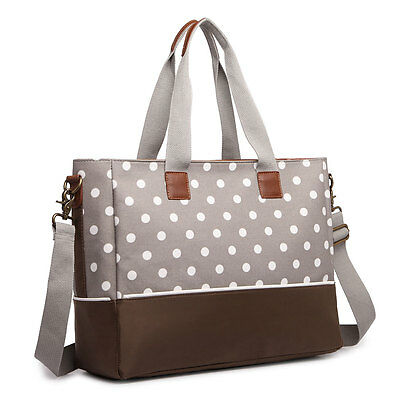 Mummy Baby Nappy Diaper Changing Maternity Bag Set Wipe Clean Polka Dots Grey