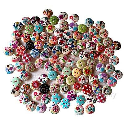 20/50/100pcs Round Wood Buttons 2 Holes Sewing Scrapbooking Wooden Craft DIY