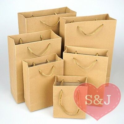 40x Kraft Brown Paper Carry Bags with Handle Wedding Party Favour/Bomboniere