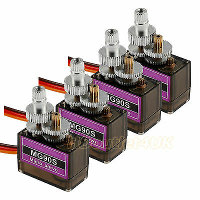 New 4Pcs  MG90S Metal Gear Micro Servo For Futaba JR Helicopter Boat Car
