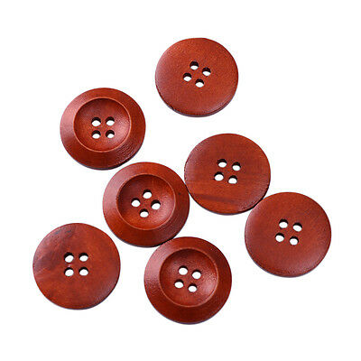 50Pcs 4 Holes Wood Buttons Sewing Scrapbooking Wooden Round Brown DIY Craft