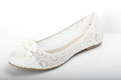 Off white Lace Flower Wedding Ballerina Bridal Flat Pumps UK 3 4 5 6 7 7.5 8