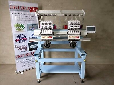 Embroidery machine, 2 heads compact, NEW, new style, full size, cap, shirt, flat