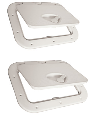 Caravan RV Access Hatch Nove Rade 375x275 Recessed Handle White R2380 x2 units